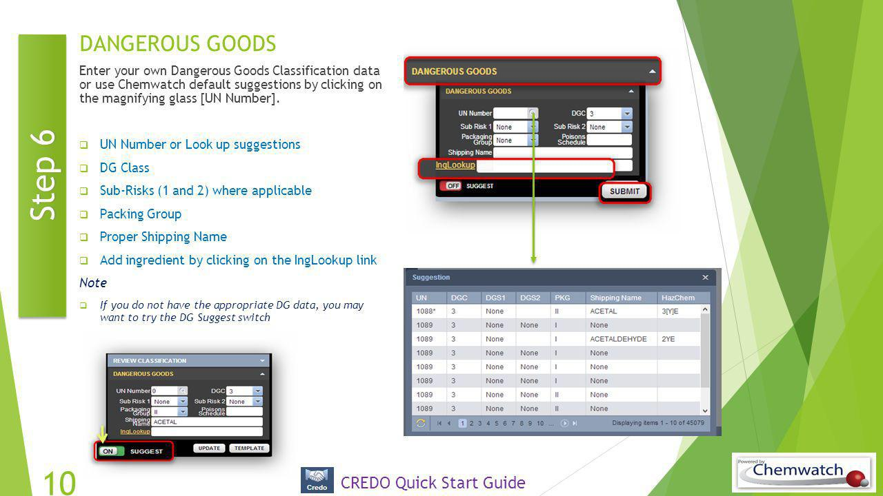 Step 6 DANGEROUS GOODS CREDO Quick Start Guide
