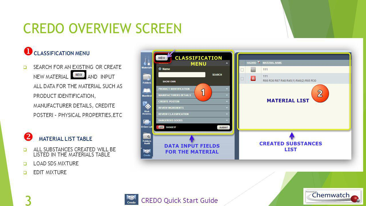CREDO OVERVIEW SCREEN CLASSIFICATION MENU  MATERIAL LIST TABLE