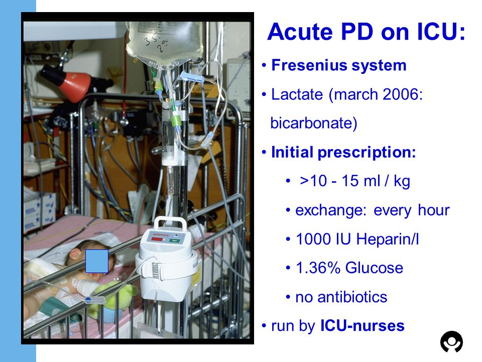 Acute PD on ICU: Fresenius system Lactate (march 2006: bicarbonate)