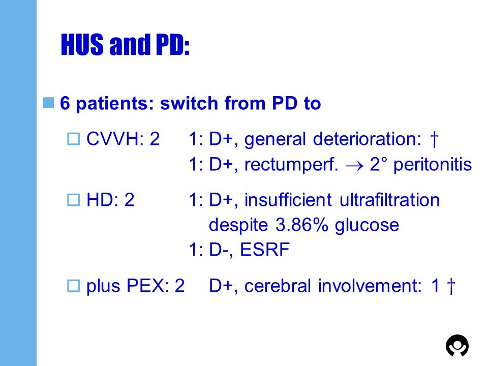 HUS and PD: 6 patients: switch from PD to