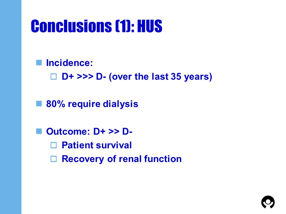 Conclusions (1): HUS Incidence: