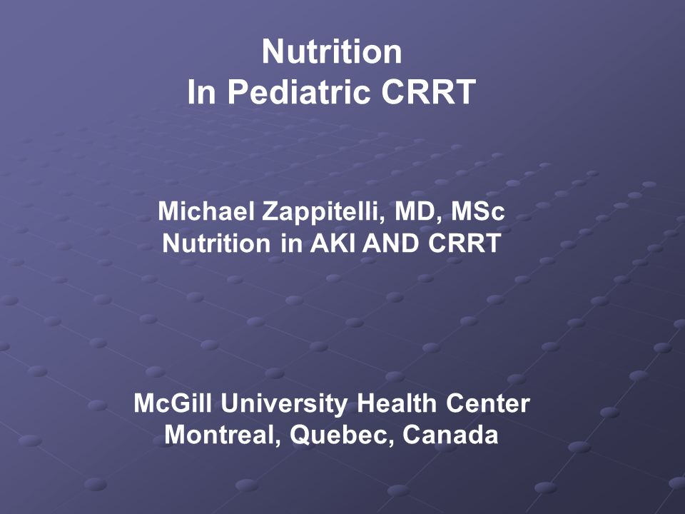 Nutrition In Pediatric CRRT