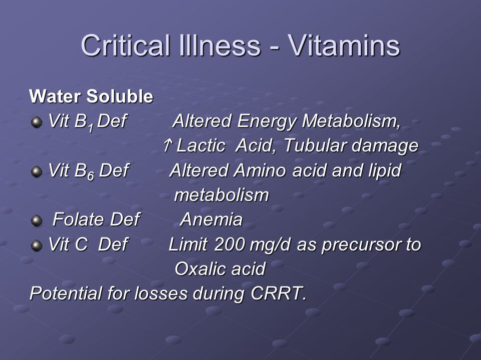 Critical Illness - Vitamins