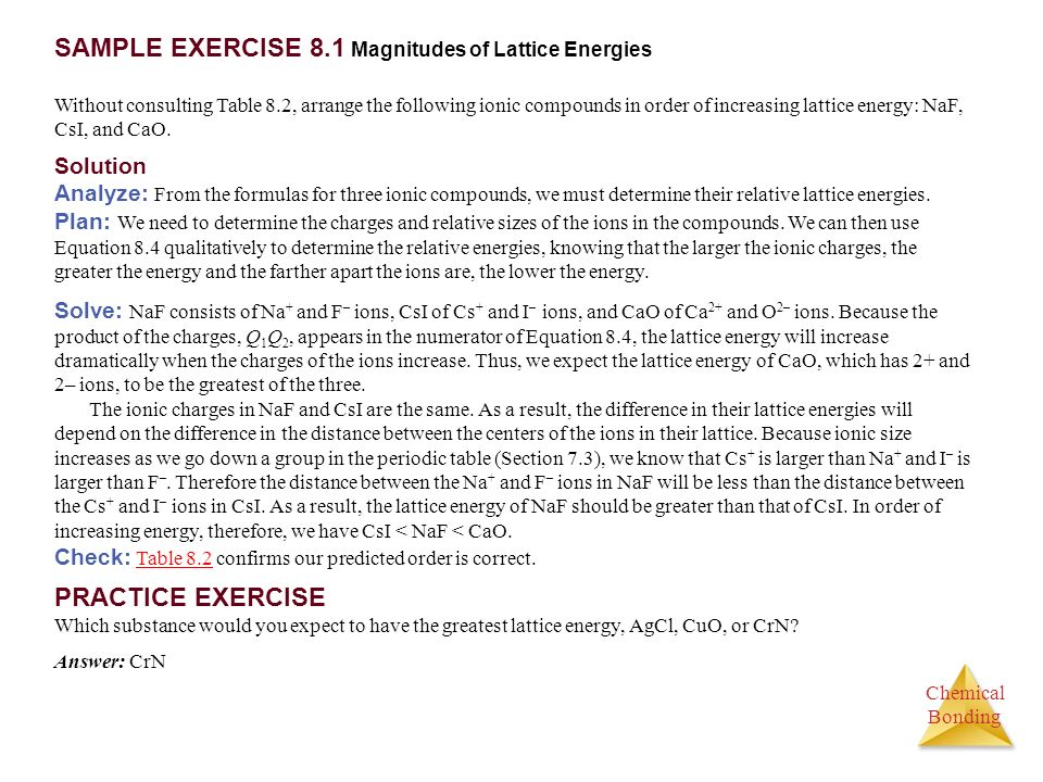 SAMPLE EXERCISE 8.1 Magnitudes of Lattice Energies