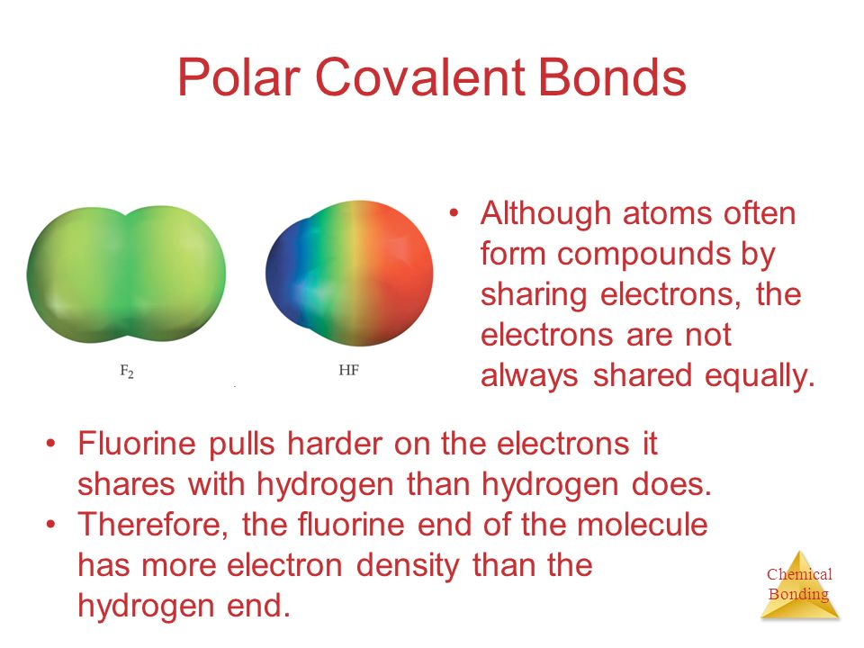 Polar Covalent Bonds Although atoms often form compounds by sharing electrons, the electrons are not always shared equally.