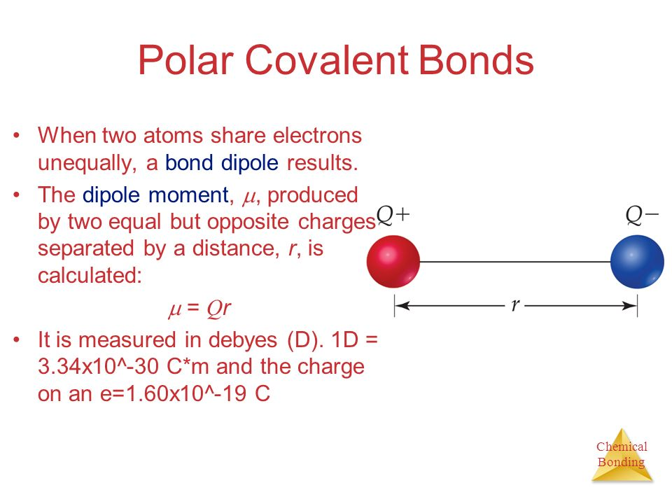 Polar Covalent Bonds When two atoms share electrons unequally, a bond dipole results.