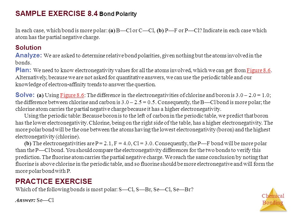 SAMPLE EXERCISE 8.4 Bond Polarity