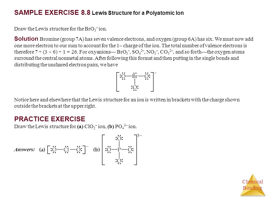 SAMPLE EXERCISE 8.8 Lewis Structure for a Polyatomic Ion