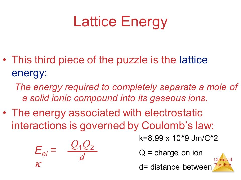 Lattice Energy This third piece of the puzzle is the lattice energy: