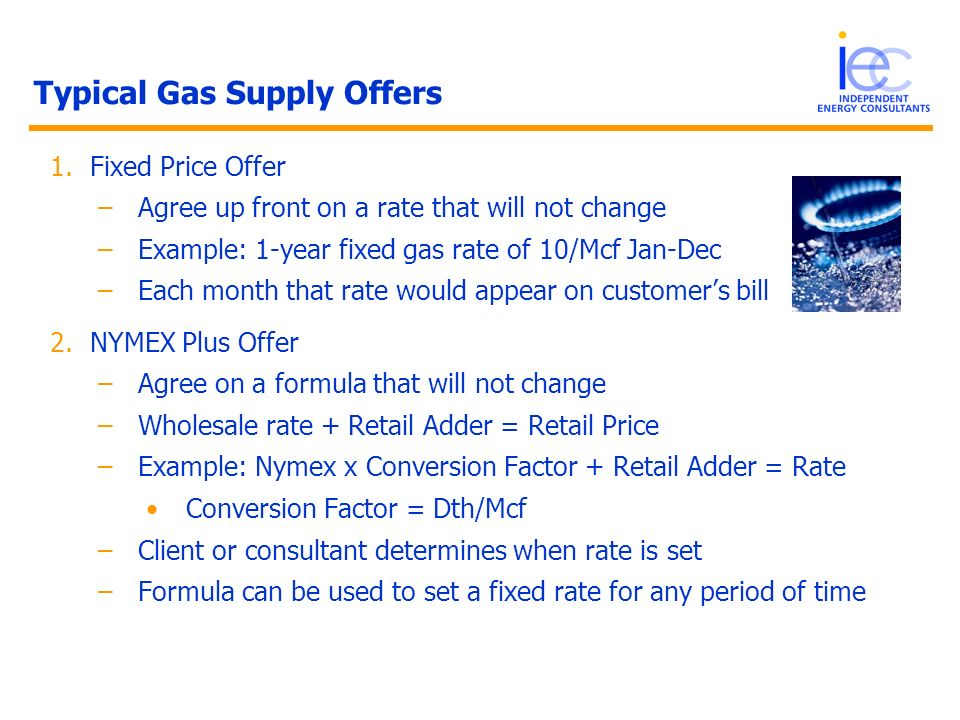 Typical Gas Supply Offers