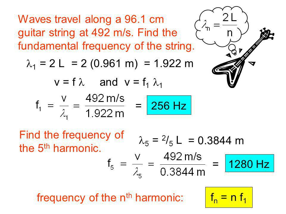 Waves travel along a 96.1 cm guitar string at 492 m/s. Find the. fundamental frequency of the string.