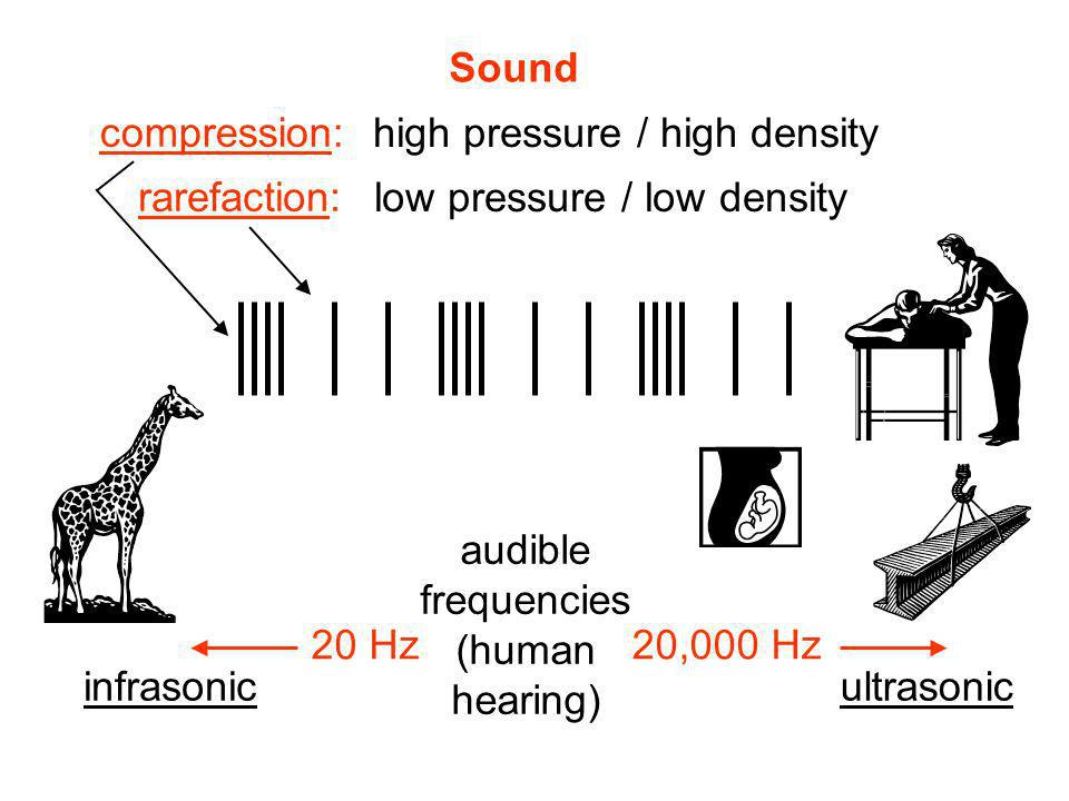 Sound compression: high pressure / high density. rarefaction: low pressure / low density. audible.