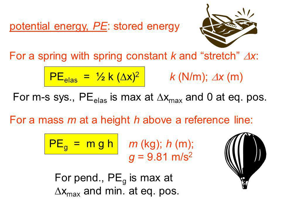 potential energy, PE: stored energy