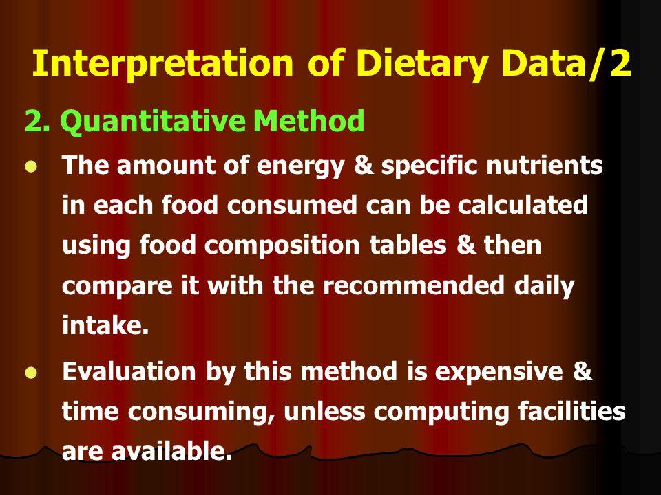 Interpretation of Dietary Data/2