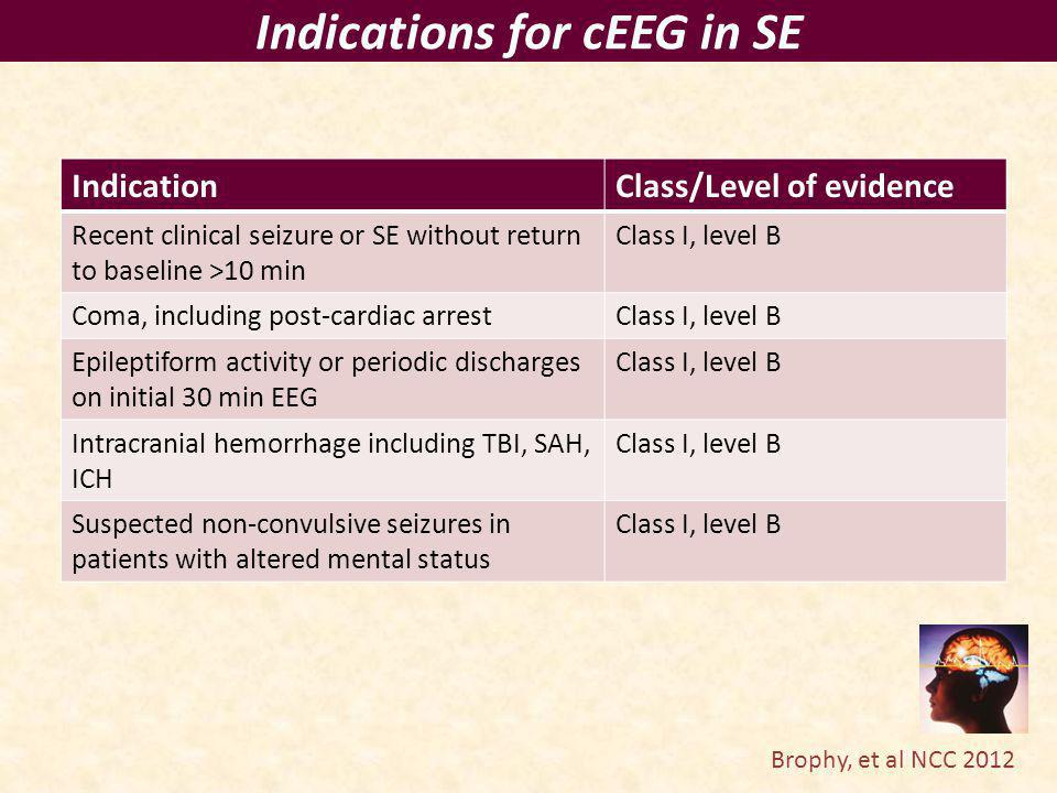 Indications for cEEG in SE