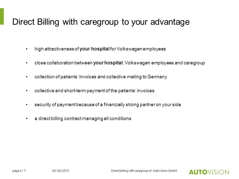 Direct Billing with caregroup to your advantage
