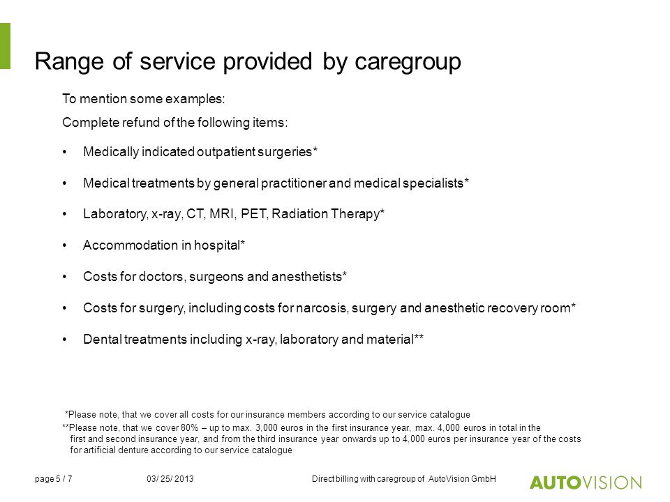 Range of service provided by caregroup