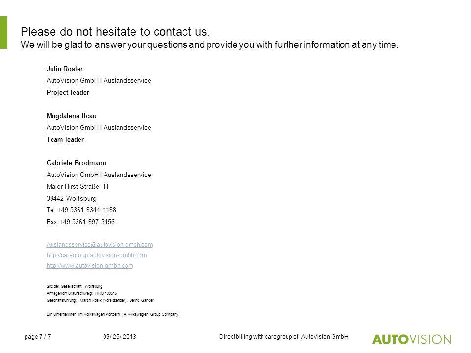 7 please - Autovision Bewerbung