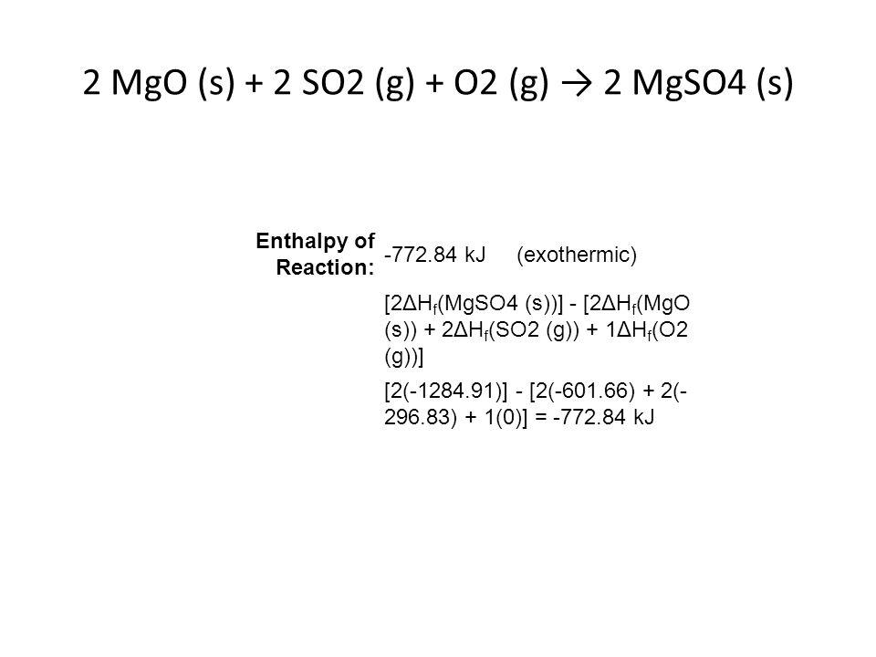 2 MgO (s) + 2 SO2 (g) + O2 (g) → 2 MgSO4 (s)