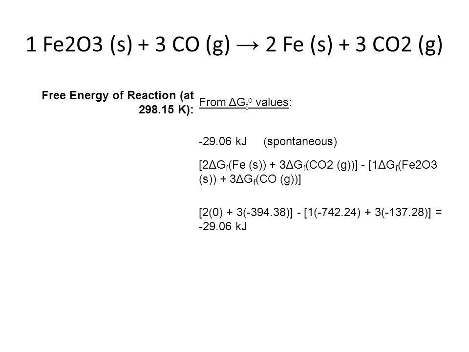 1 Fe2O3 (s) + 3 CO (g) → 2 Fe (s) + 3 CO2 (g)