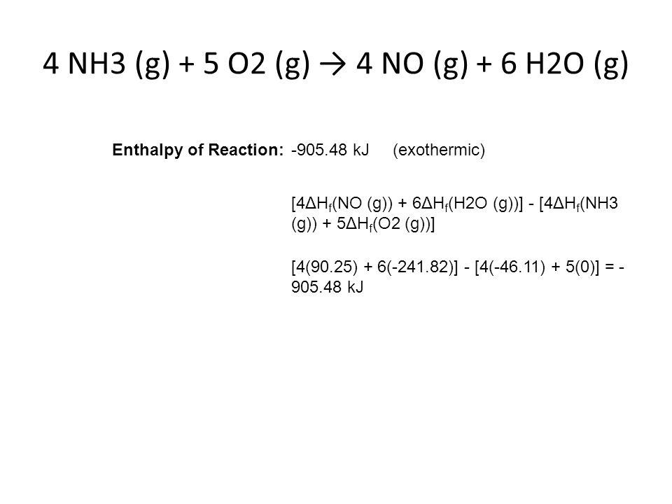 4 NH3 (g) + 5 O2 (g) → 4 NO (g) + 6 H2O (g)