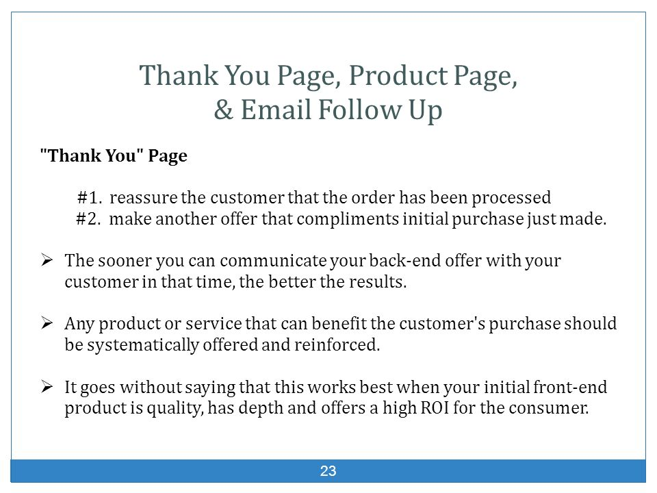 Thank You Page, Product Page,