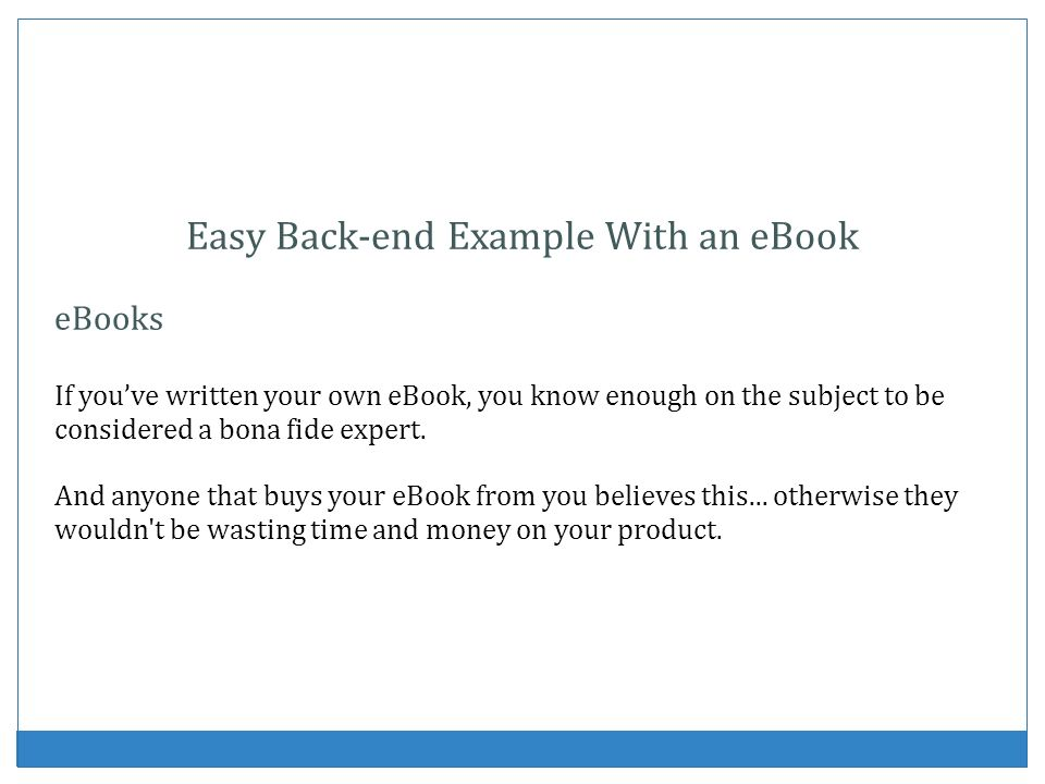 Easy Back-end Example With an eBook