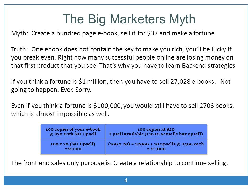 The Big Marketers Myth Myth: Create a hundred page e-book, sell it for $37 and make a fortune.