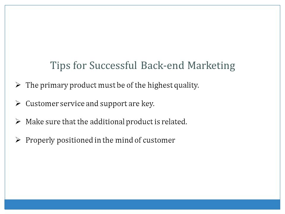 Tips for Successful Back-end Marketing