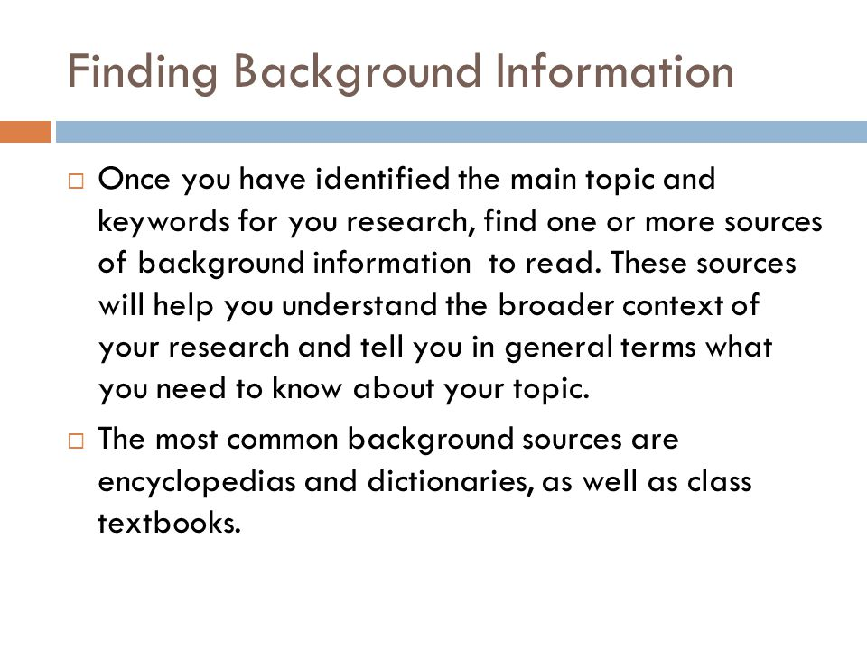 Finding Background Information