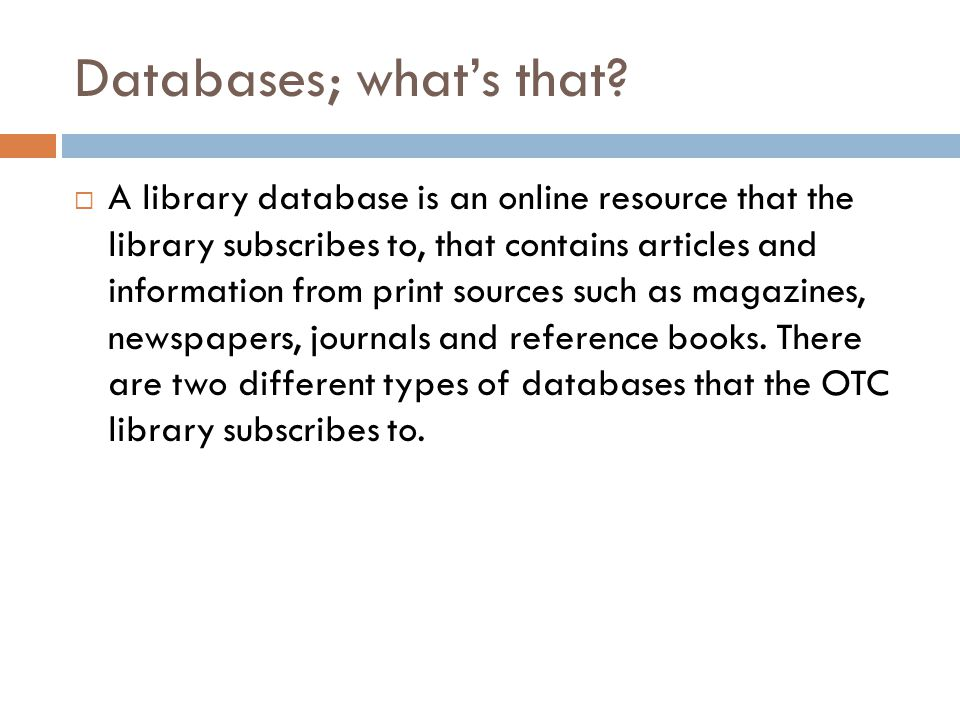 Databases; what's that