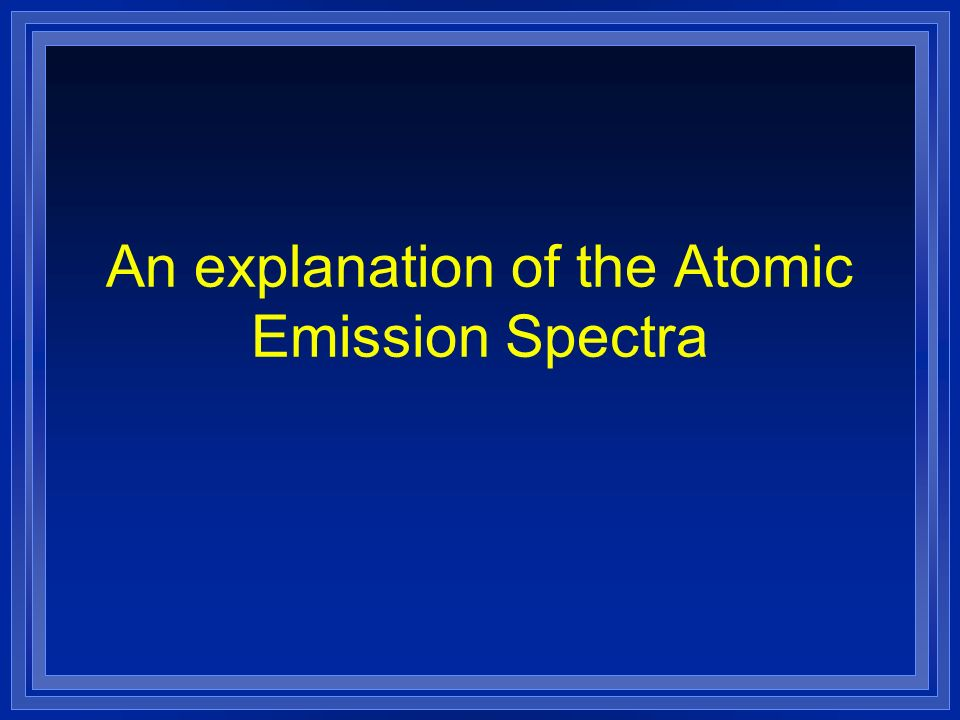 An explanation of the Atomic Emission Spectra