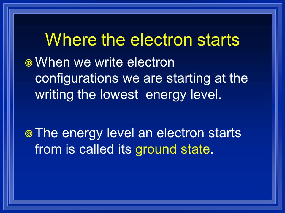 Where the electron starts