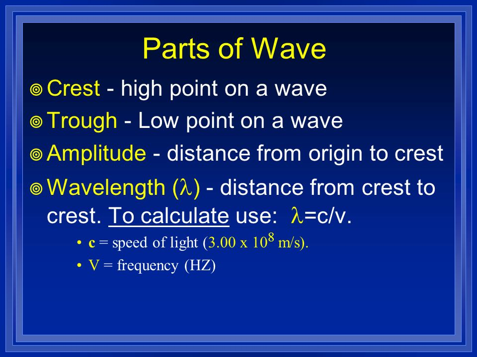Parts of Wave Crest - high point on a wave