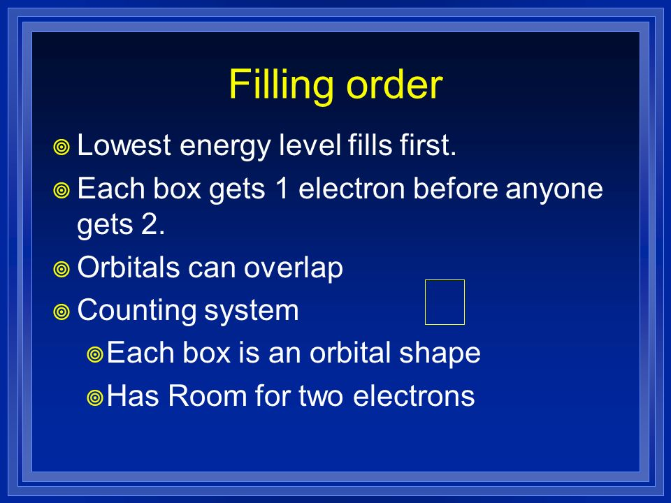Filling order Lowest energy level fills first.