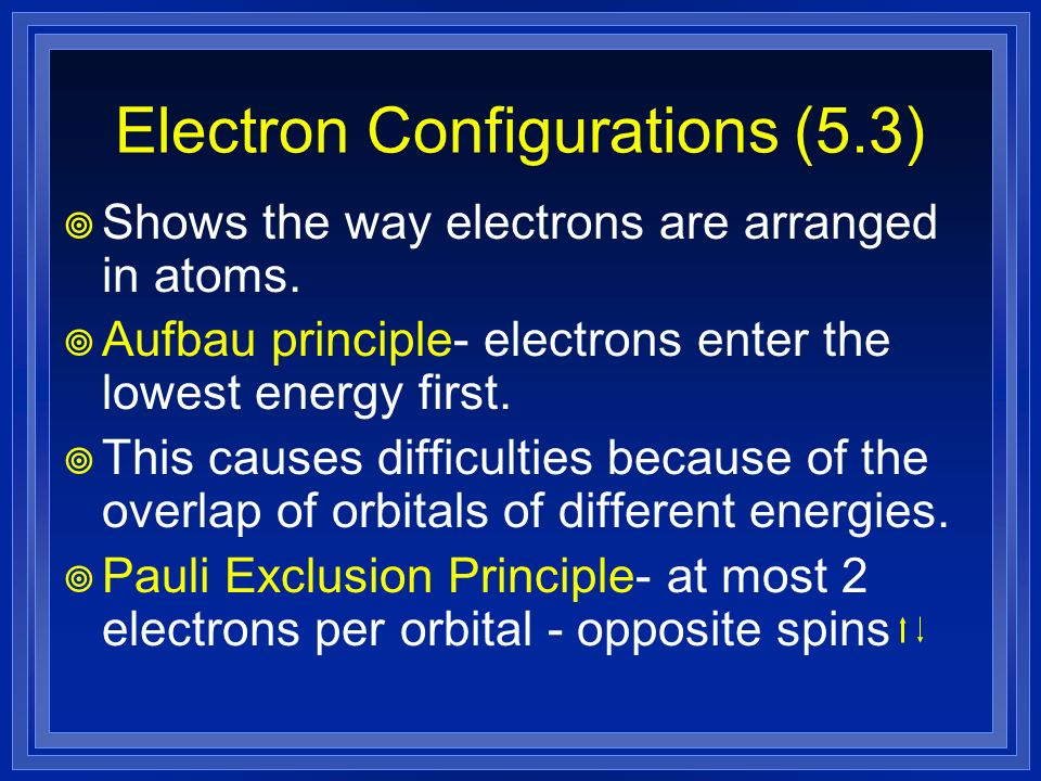 Electron Configurations (5.3)