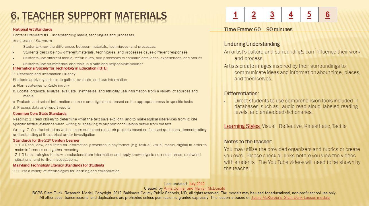 6. Teacher Support Materials