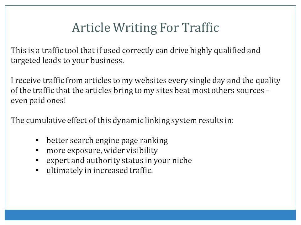 Article Writing For Traffic