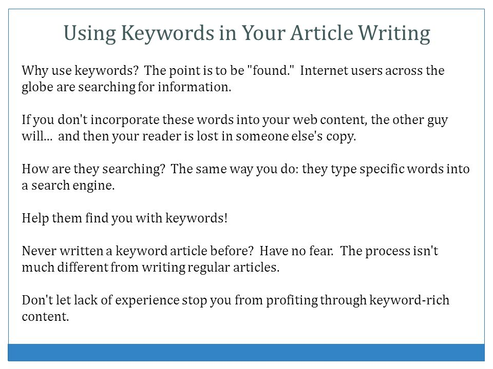 Using Keywords in Your Article Writing