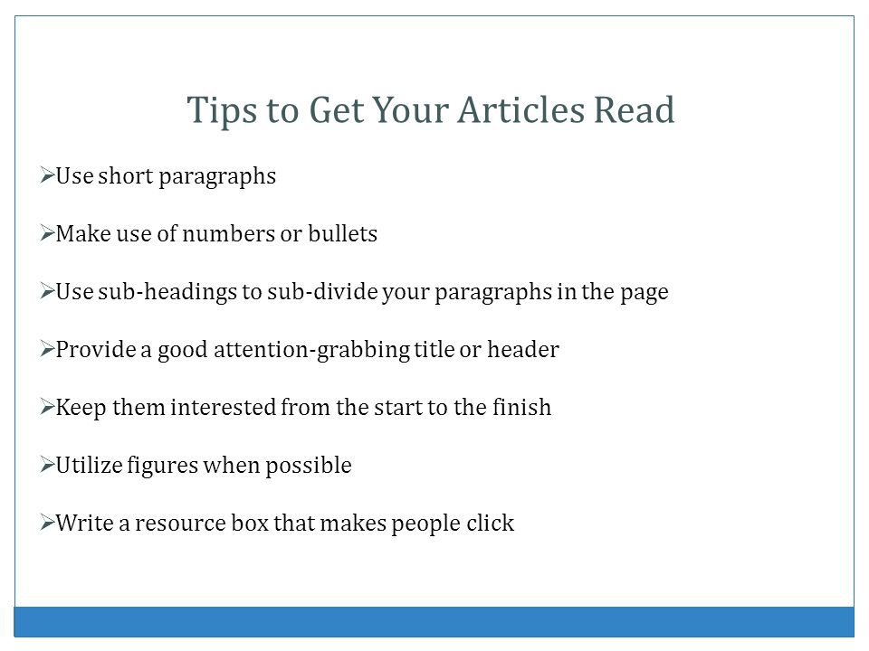 Tips to Get Your Articles Read