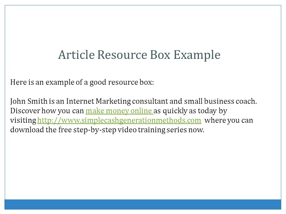 Article Resource Box Example