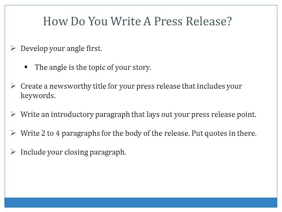 How Do You Write A Press Release