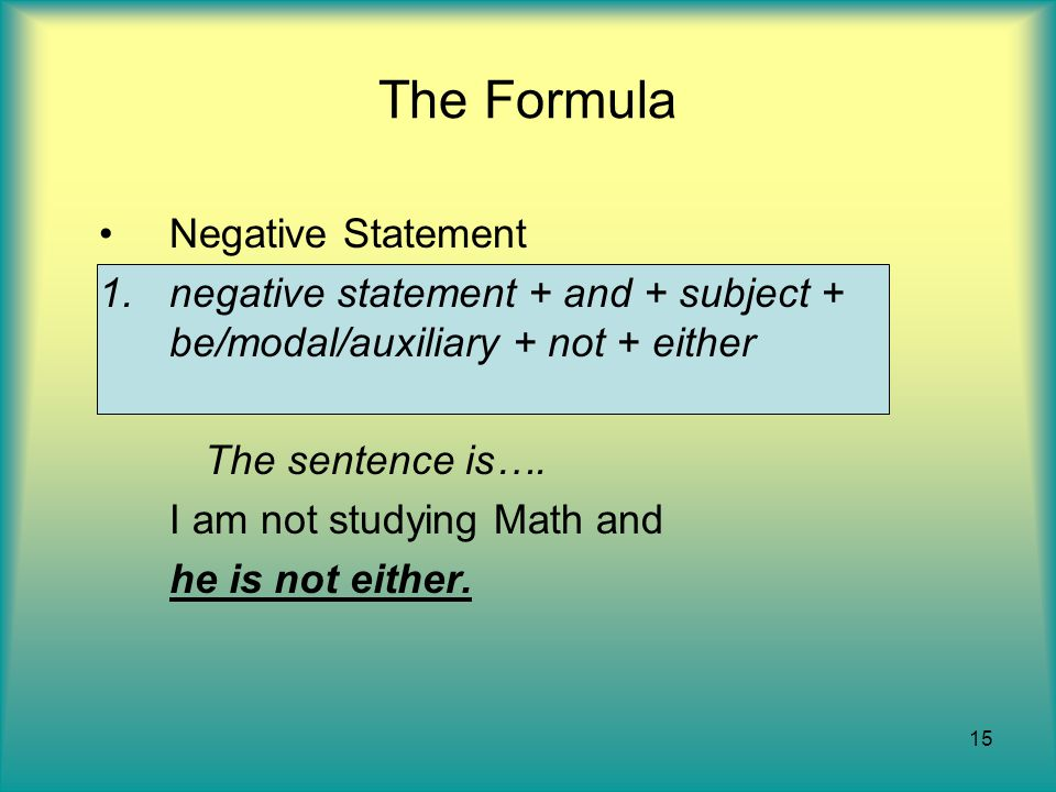 The Formula Negative Statement