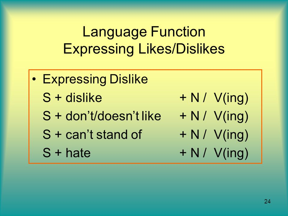 Language Function Expressing Likes/Dislikes