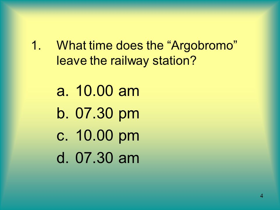 What time does the Argobromo leave the railway station