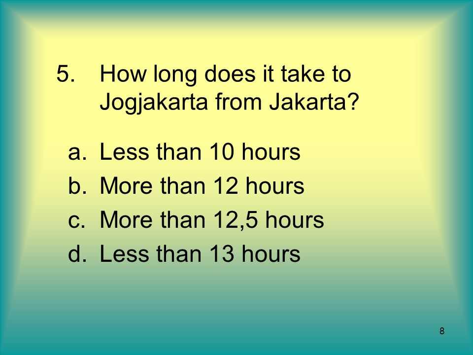 How long does it take to Jogjakarta from Jakarta