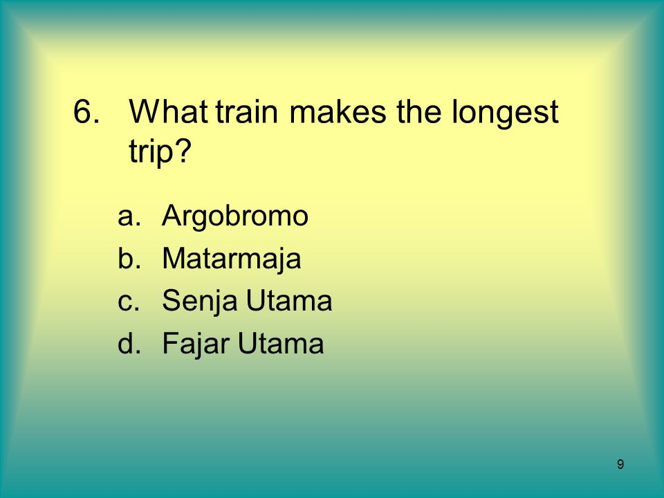 What train makes the longest trip
