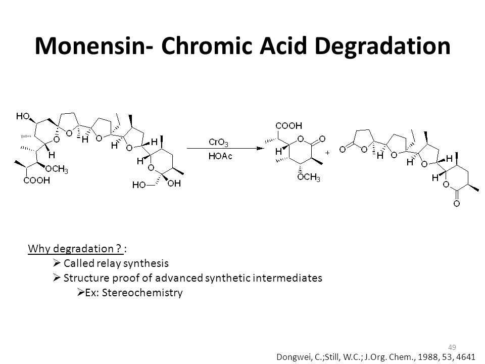 Monensin- Chromic Acid Degradation