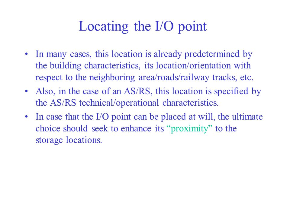 Locating the I/O point