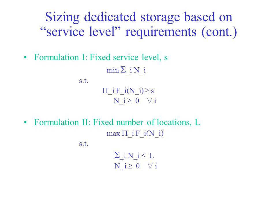Sizing dedicated storage based on service level requirements (cont.)